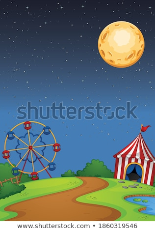 Parco di divertimenti scena notte luna cielo illustrazione Foto d'archivio © bluering