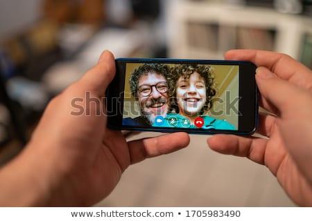 Vater Erzeugnis Video rufen Familie Telefonkonferenz Stock foto © vichie81