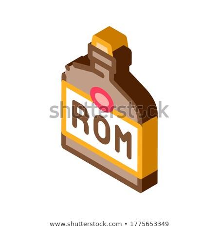 Rum pić butelki izometryczny ikona wektora Zdjęcia stock © pikepicture