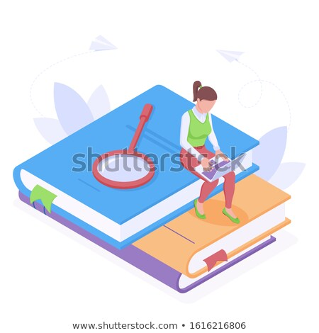 Woman Sitting on Pile of Books Working on Laptop Stock photo © robuart