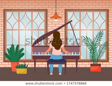 Genç kadın piyano ev farkında olma sosyal medya kampanya Stok fotoğraf © robuart