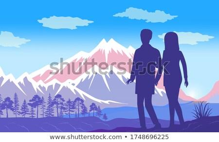 男 女性 手をつない 感心する 山 風景 ストックフォト © robuart