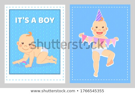 Boy greeting card, toddler with rattle, 1st year Stock photo © robuart