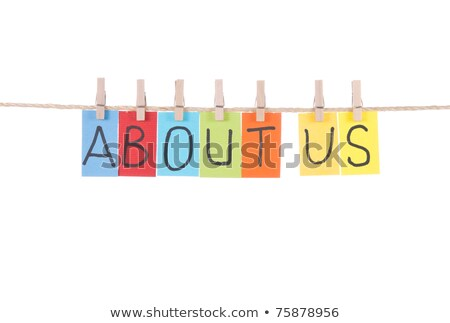 about us words hang by wooden peg stock photo © ansonstock