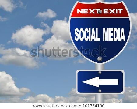 Stock fotó: Közösségi · média · autópálya · tábla · magas · döntés · grafikus · felhő