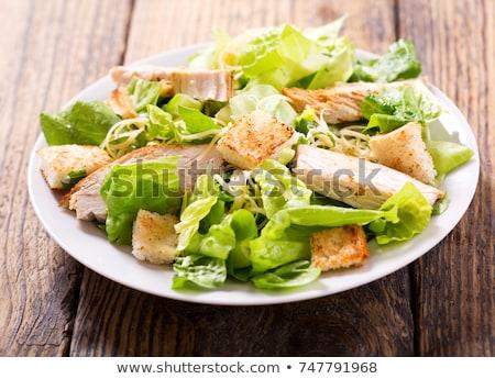 finom · cézár · saláta · pörkölt · csirkemell · fokhagyma · zsemlekocka - stock fotó © simplefoto