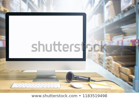 üzletember laptop vonalkód illusztráció fehér papír Stock fotó © get4net