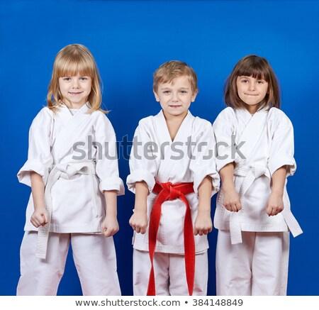 aikidó · fiú · harcol · pozició · fehér · kimonó - stock fotó © paha_l