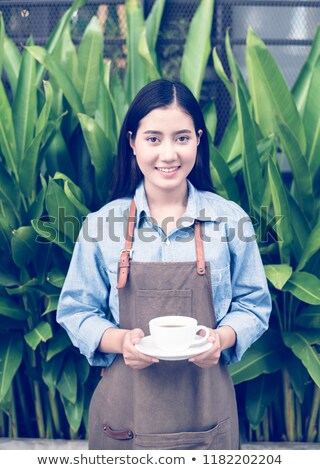 Cappuccino bleu tasse belle jeune fille Photo stock © darrinhenry