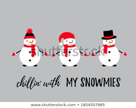 Snowmen trio Stock photo © ElaK