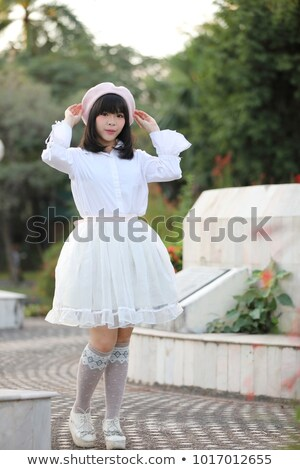 Japán édes lány cosplay stílus telefon Stock fotó © smithore