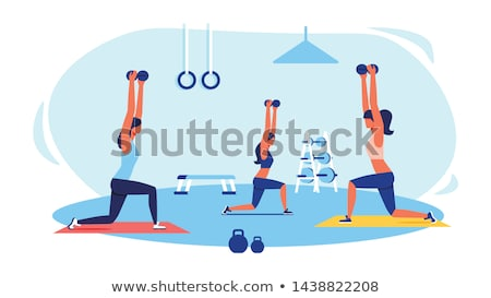 Beautiful sport woman doing power fitness exercise Stock photo © Nobilior