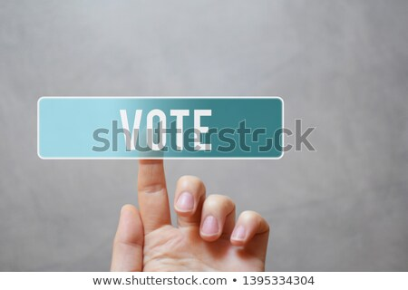 Finger presses on transparent blue button Like. stock photo © borysshevchuk