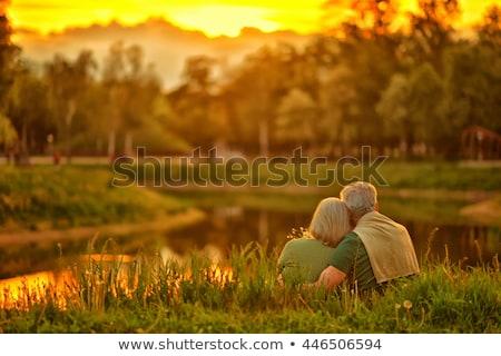 volwassen · paar · vergadering · buiten · vrouw · landschap - stockfoto © photography33