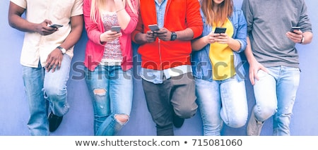 app people standing on smart phone stock photo © iqoncept