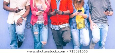 Foto stock: Aplicativo · pessoas · em · pé · vários · aplicativos
