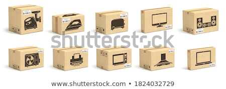 Laptop with Cardboard Boxes Isolated on White Stock photo © WaD