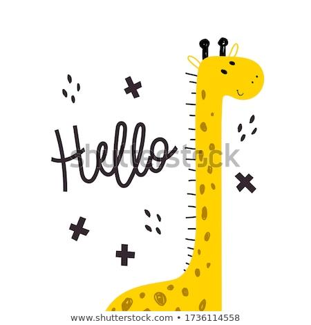Cute Cartoon jirafa arte diseno sonriendo Foto stock © indiwarm