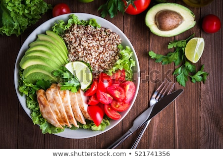 Saludable aperitivo vidrio almuerzo cuchara vegetales Foto stock © M-studio