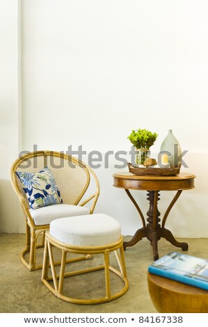 Stok fotoğraf: Table Chair Combination Rattan Seating Area