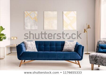 interior · grande · sofá · vaso · parede · moda - foto stock © Ciklamen