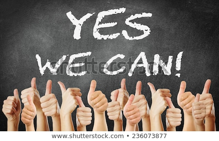 yes we can   written with chalk on a blackboard stock photo © bbbar