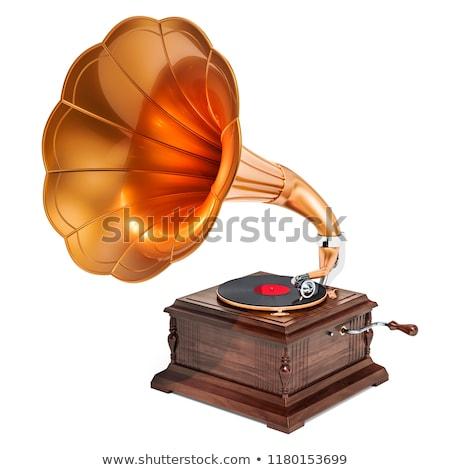 gramofone · chifre · velho · bronze · música - foto stock © photosil