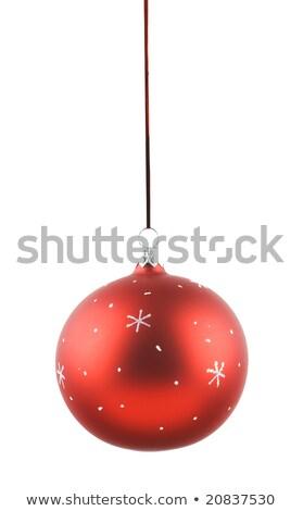 christmas · dekoracji · czerwony · piłka · biały · szkła - zdjęcia stock © Arsgera