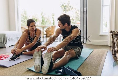 mulher · meditando · sessão · ioga · posição · topo - foto stock © ambro