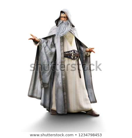Stock photo: 3D white people. Halloween sorcerer costume