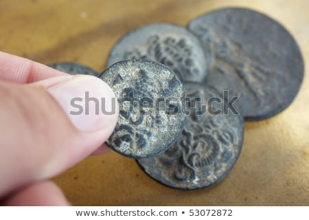 Stockfoto: Oude · Romeinse · munten · hand · collectie · palm