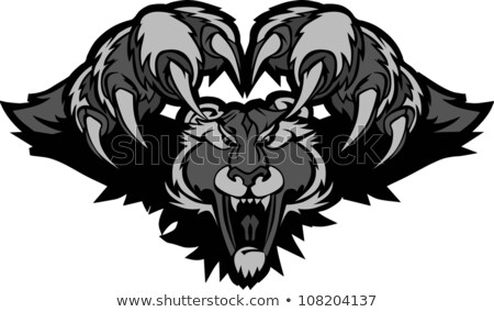 Black Panther Mascot Pouncing Graphic Illustration Stock foto © ChromaCo