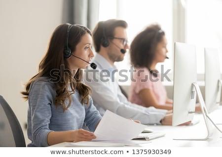 Zakenvrouw hotline vrouw glimlach werk model Stockfoto © photography33