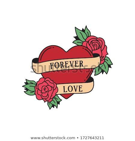 Corazón aumentó tatuaje hojas rojo impresión Foto stock © creative_stock
