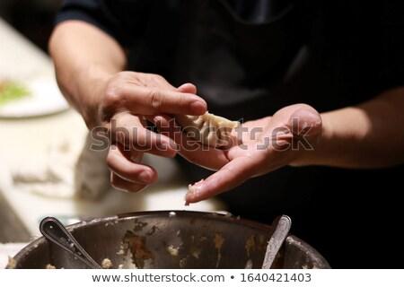making stuffed dumplings close up stock photo © julietphotography
