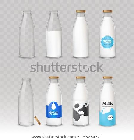 bébiétel · és · tej · üveg · izolált · fehér - stock fotó © karandaev
