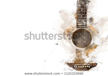 Gitar soyut ahşap sanat kaya beyaz Stok fotoğraf © lina0486