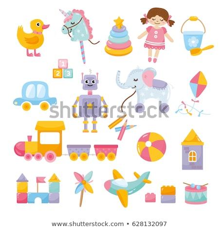 Karikatür bebek oyuncakları toplama çocuk arka plan oyuncak Stok fotoğraf © balasoiu