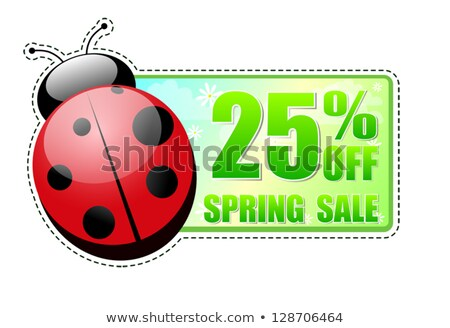 25 percentages off spring sale green label with ladybird Stock photo © marinini