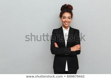 красивой · африканских · деловая · женщина · короткие · волосы · черный · костюм · белый - Сток-фото © Forgiss
