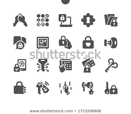biztonság · lakat · háló · interfész · ikon · fehér - stock fotó © make