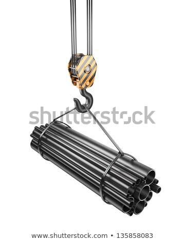 Foto stock: Ilustração · 3d · materiais · de · construção · gancho · guindaste · grupo · pipes