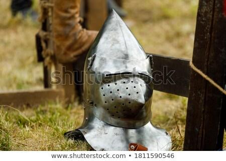 Medieval casco hierba guerra cuchillo espada Foto stock © Massonforstock