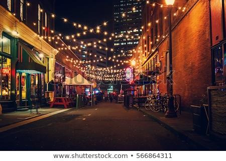 улице ночь черно белые автомобилей дороги красный Сток-фото © badmanproduction