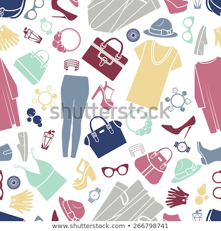 Seamless pattern with clothes, footwear and accessories. Stock photo © borysshevchuk