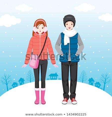 少女 着用 冬 コート ツリー 女性 ストックフォト © taden