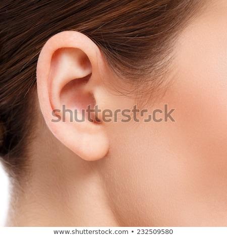 Photo stock: Femme · oreille · sur · blanche · déchirée · papier · déchiré