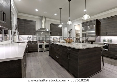 Modern mutfak dizayn vermek ahşap duvar Stok fotoğraf © sedatseven
