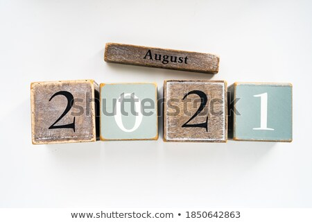 august in 3d wooden cubes stock photo © marinini