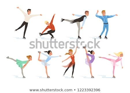 улыбаясь Рисунок фигурист льда танцовщицы коньки Сток-фото © pxhidalgo